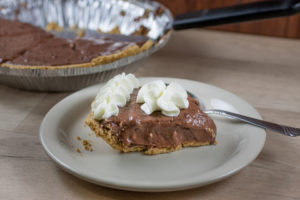 slice of Southern Chocolate Pie with Peanut Flour Pie Crust
